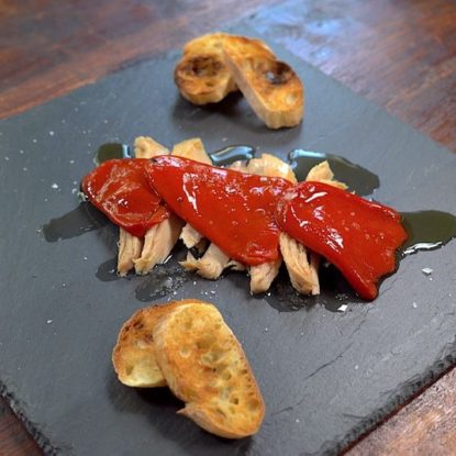 Ventresca tuna belly with piquillo peppers Spanish tapa