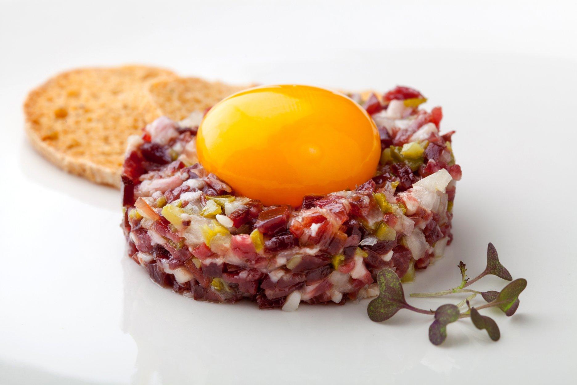 Recipe: iberian Ham Tartare with cured egg yolk