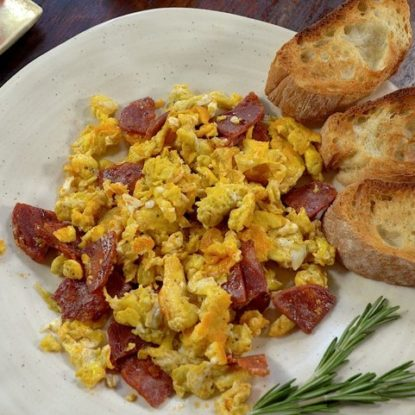 Scrambled eggs with Chorizo Ibérico de Bellota Spanish dish