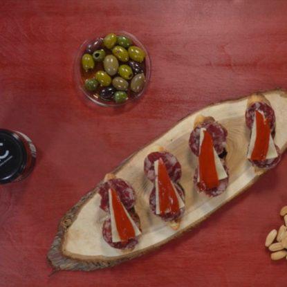 Salchichón Ibérico de Bellota, Manchego Cheese and Piquillo peppers Spanish tapa