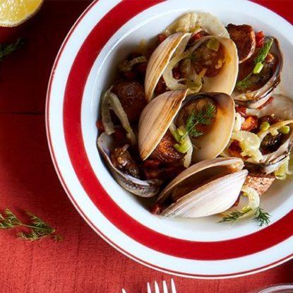 Delicious clams with Chorizo Ibérico de Bellota