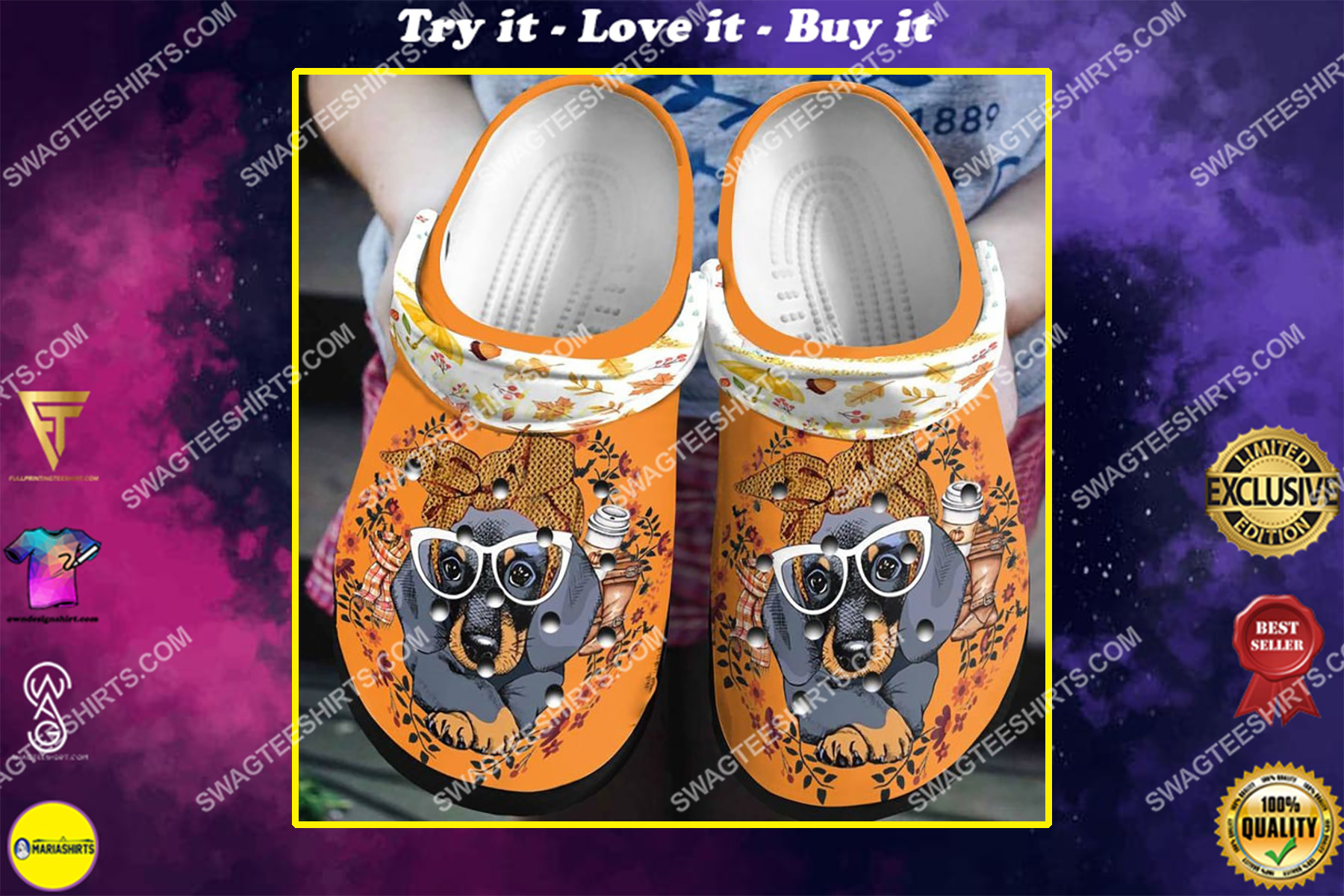 1athe dachshund and flowers all over printed crocs crocband clog