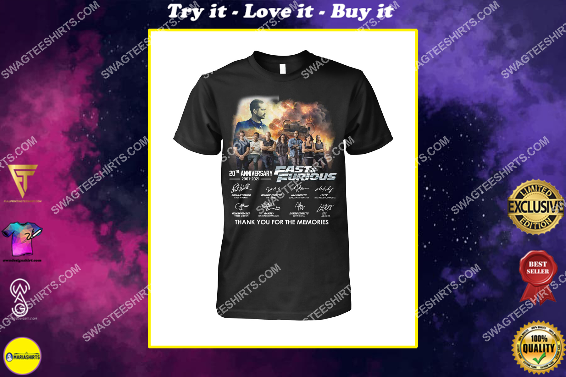 20th anniversary fast and furious thank you for memories shirt
