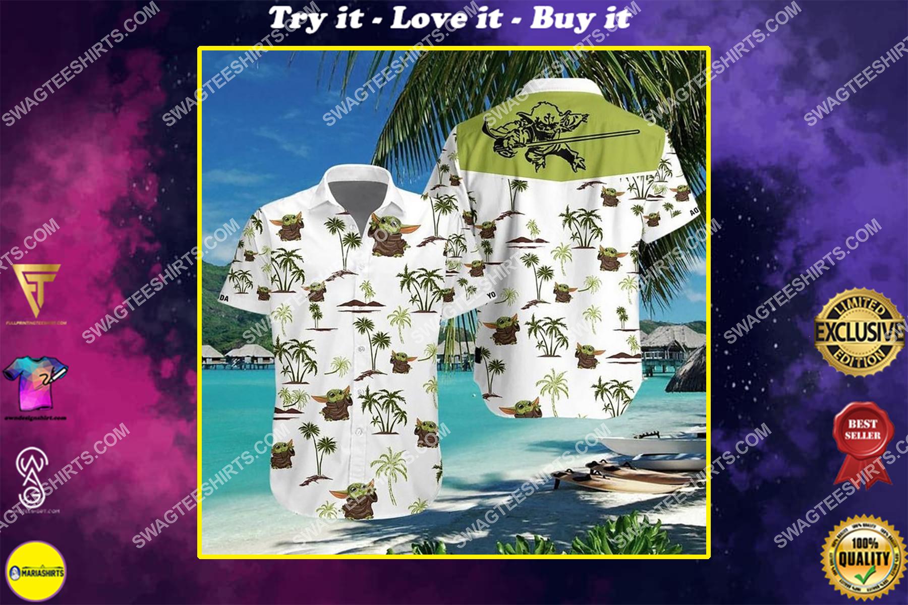Baby yoda star wars summer vacation hawaiian shirt