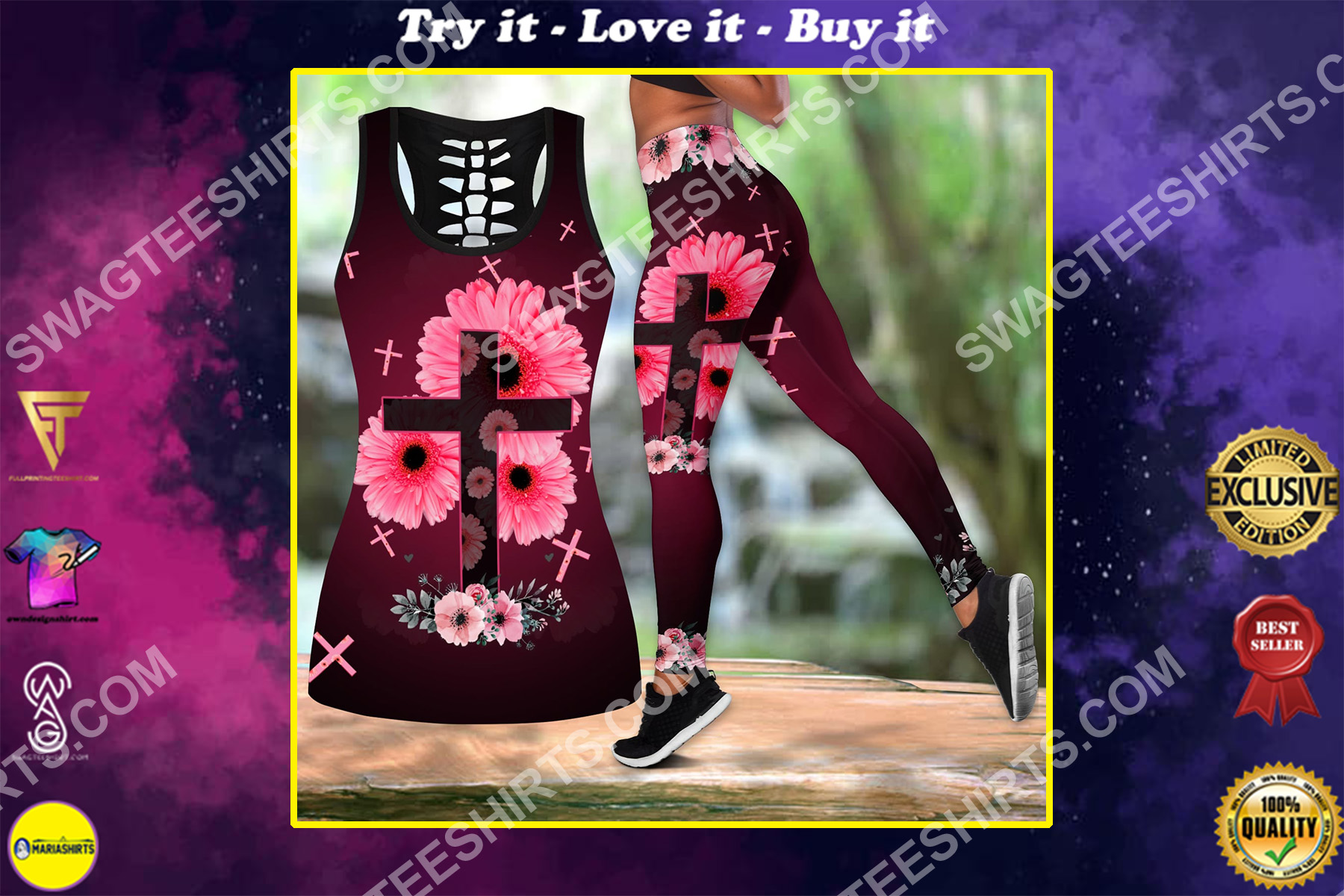 Cross and flower all over printed set sports outfit