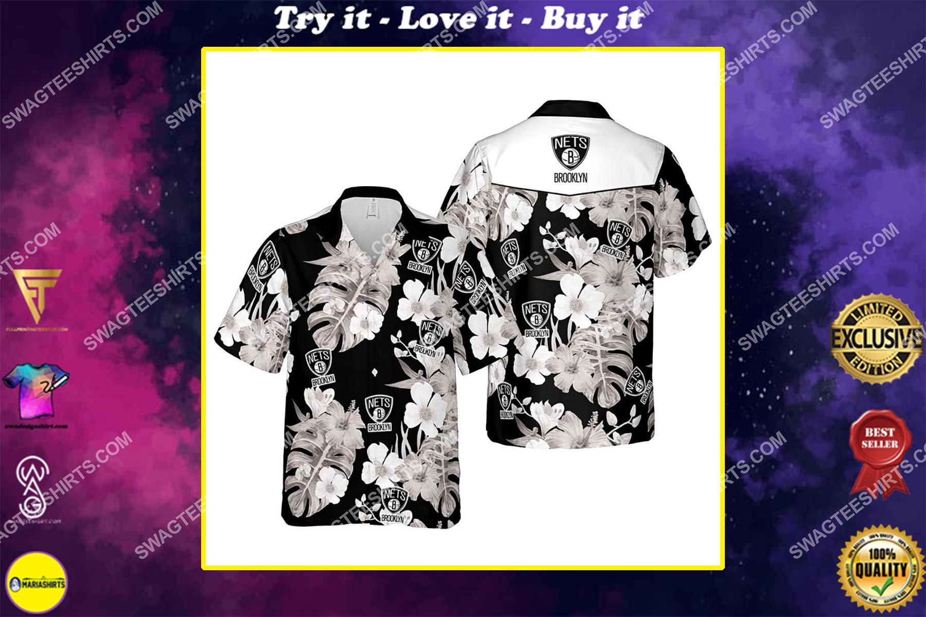 Floral brooklyn nets nba summer vacation hawaiian shirt