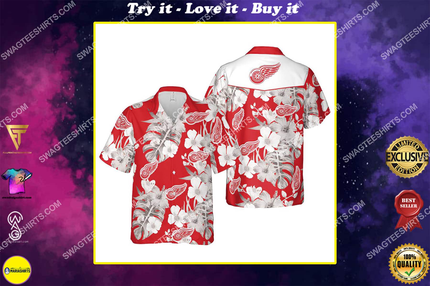 Floral detroit red wings nhl summer vacation hawaiian shirt