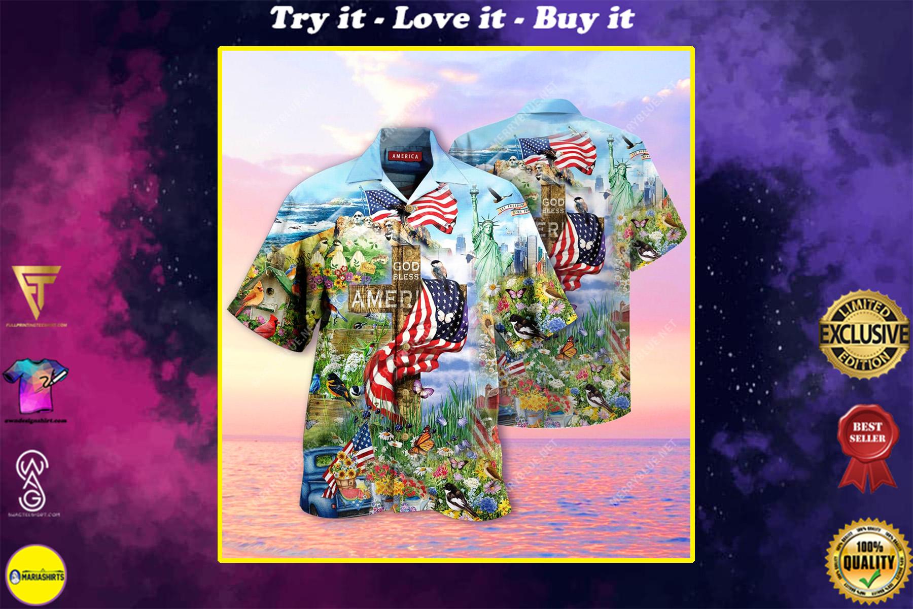 God bless american all over printed hawaiian shirt