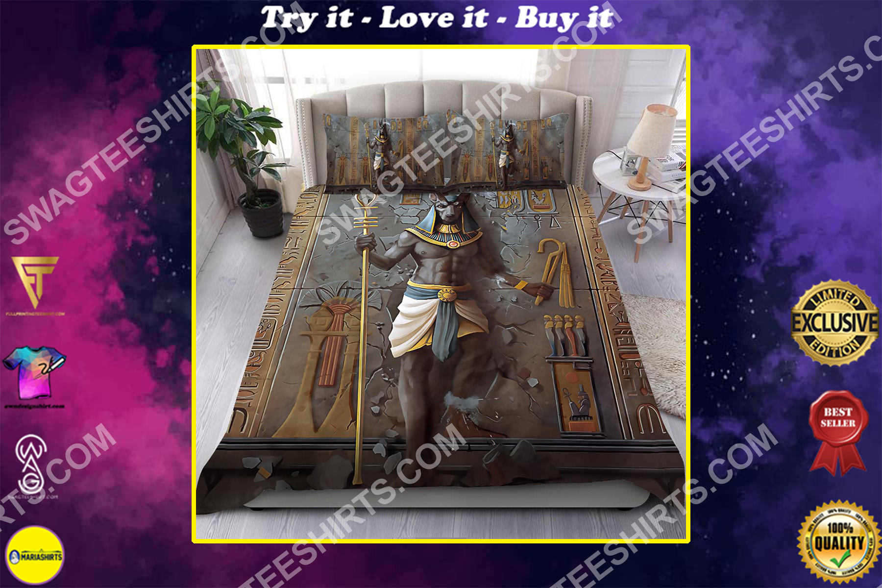 God of the dead anubis all over printed bedding set