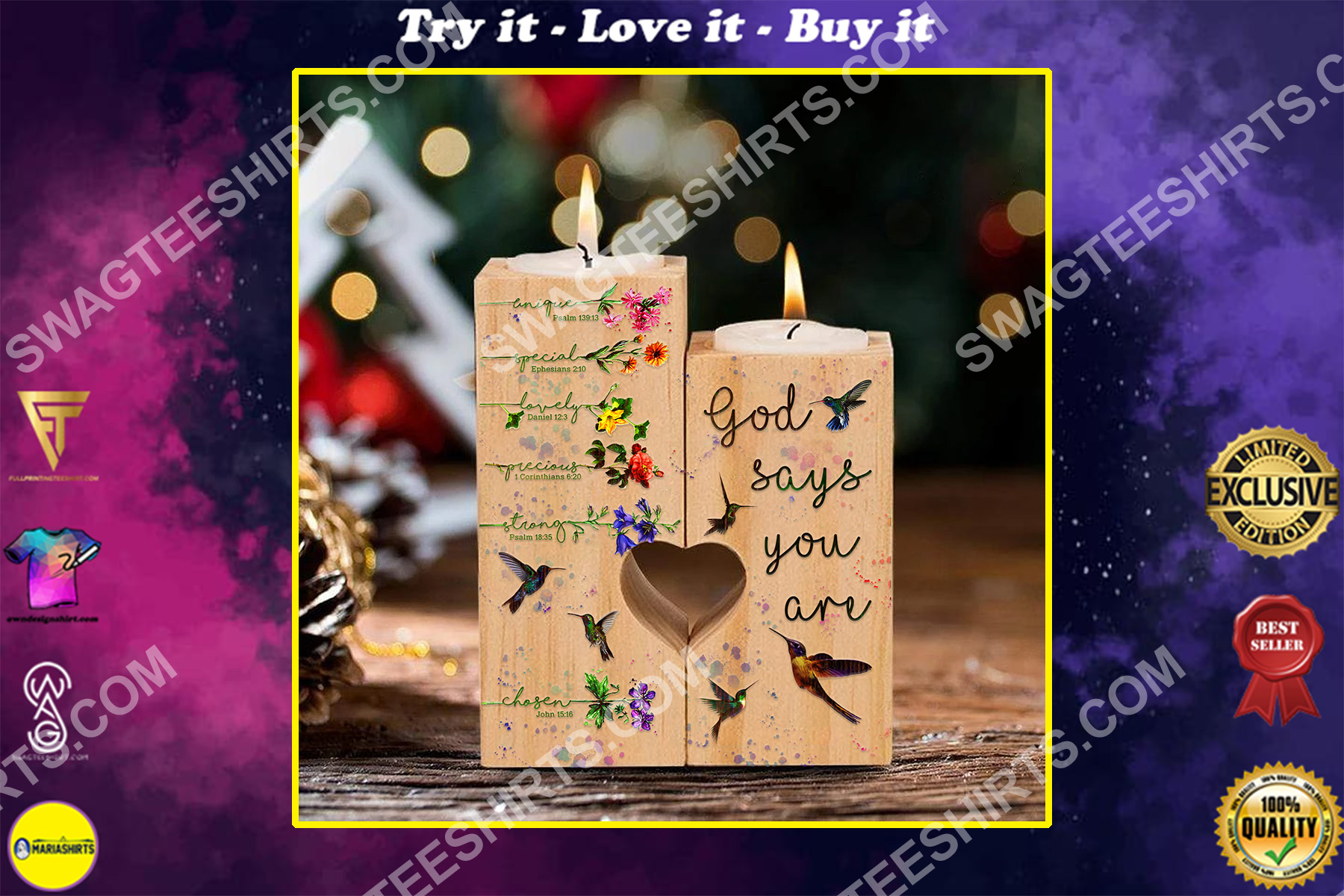 God say you are unique special lovely precious strong candle holder