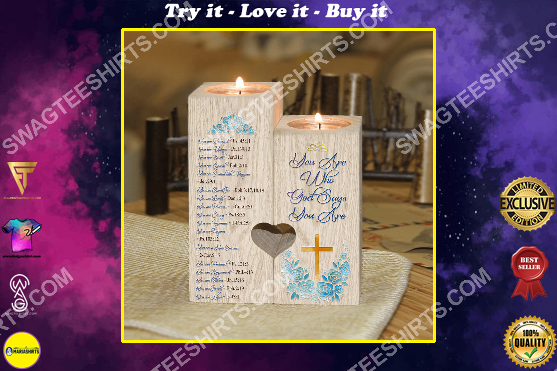 God you are who god say you are candle holder