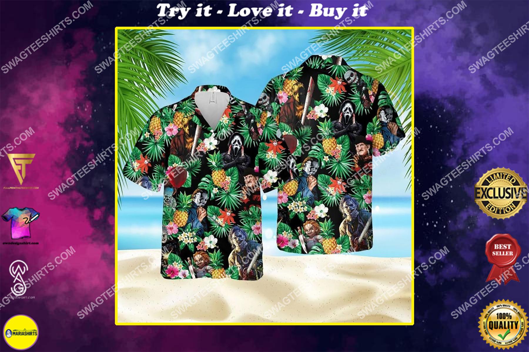 Horror characters halloween movie hawaiian shirt