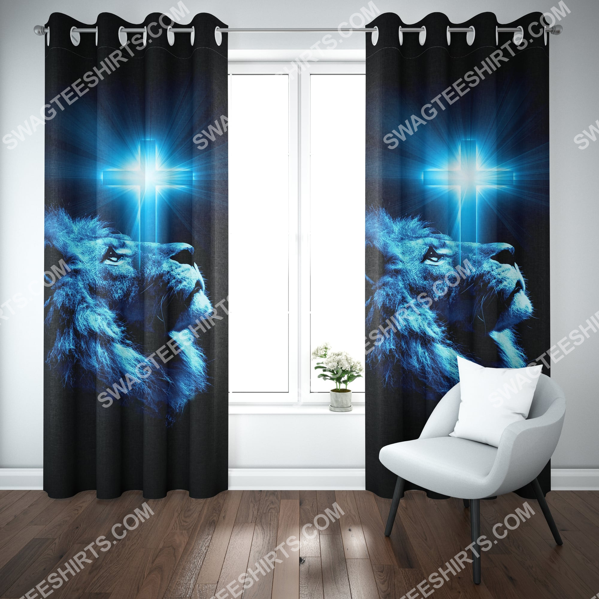 Jesus and lion all over printed window curtains 2(1)