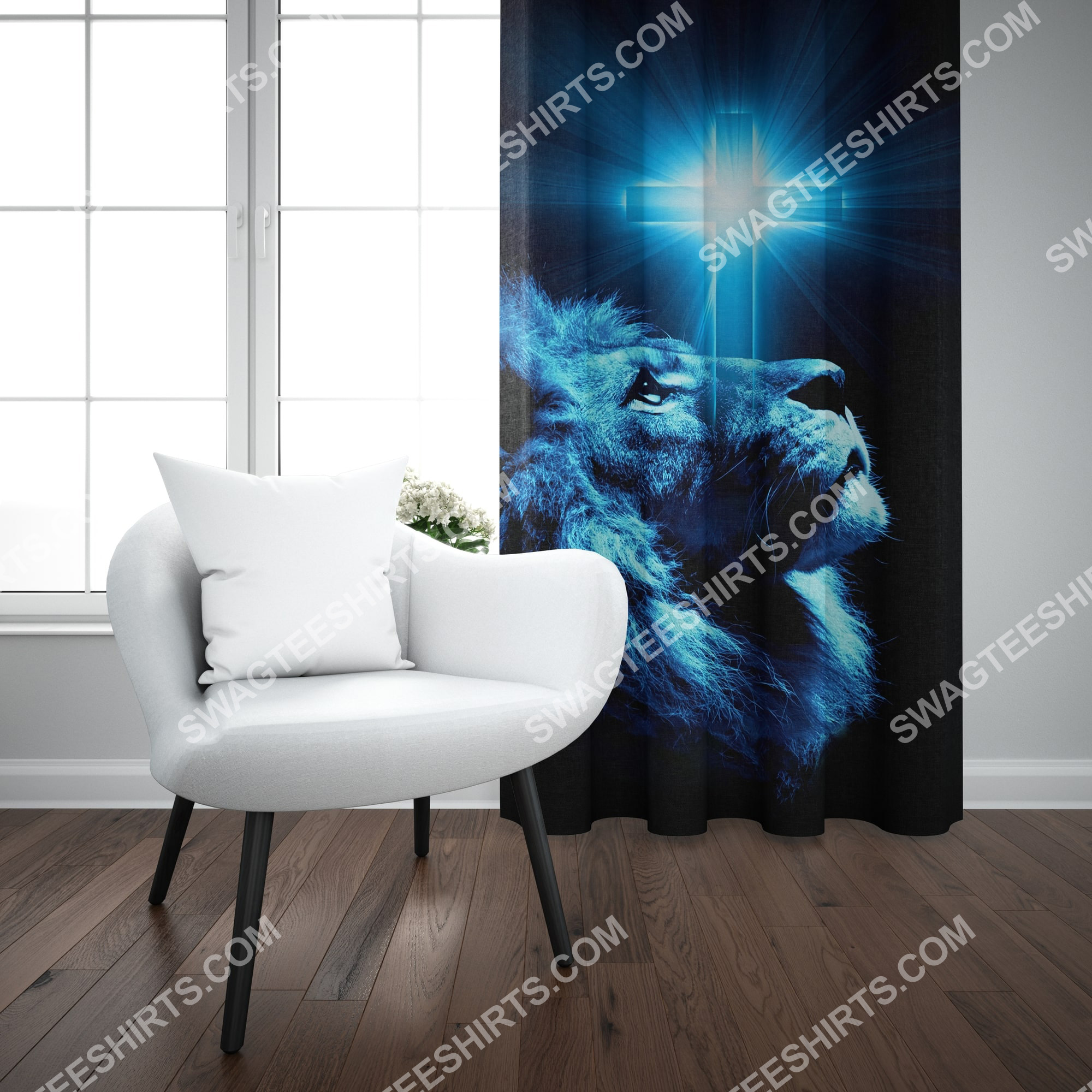 Jesus and lion all over printed window curtains 3(1) - Copy