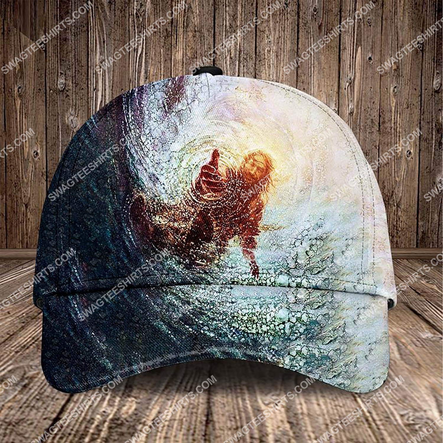 Jesus reaching into water all over printed classic cap 3