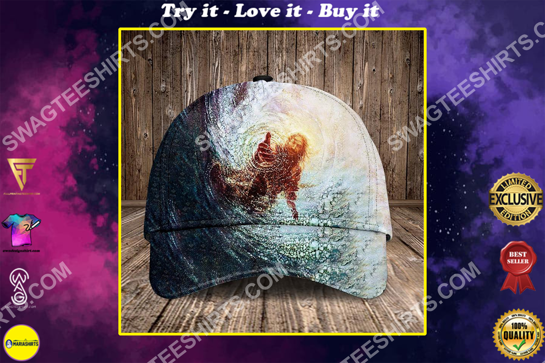 Jesus reaching into water all over printed classic cap