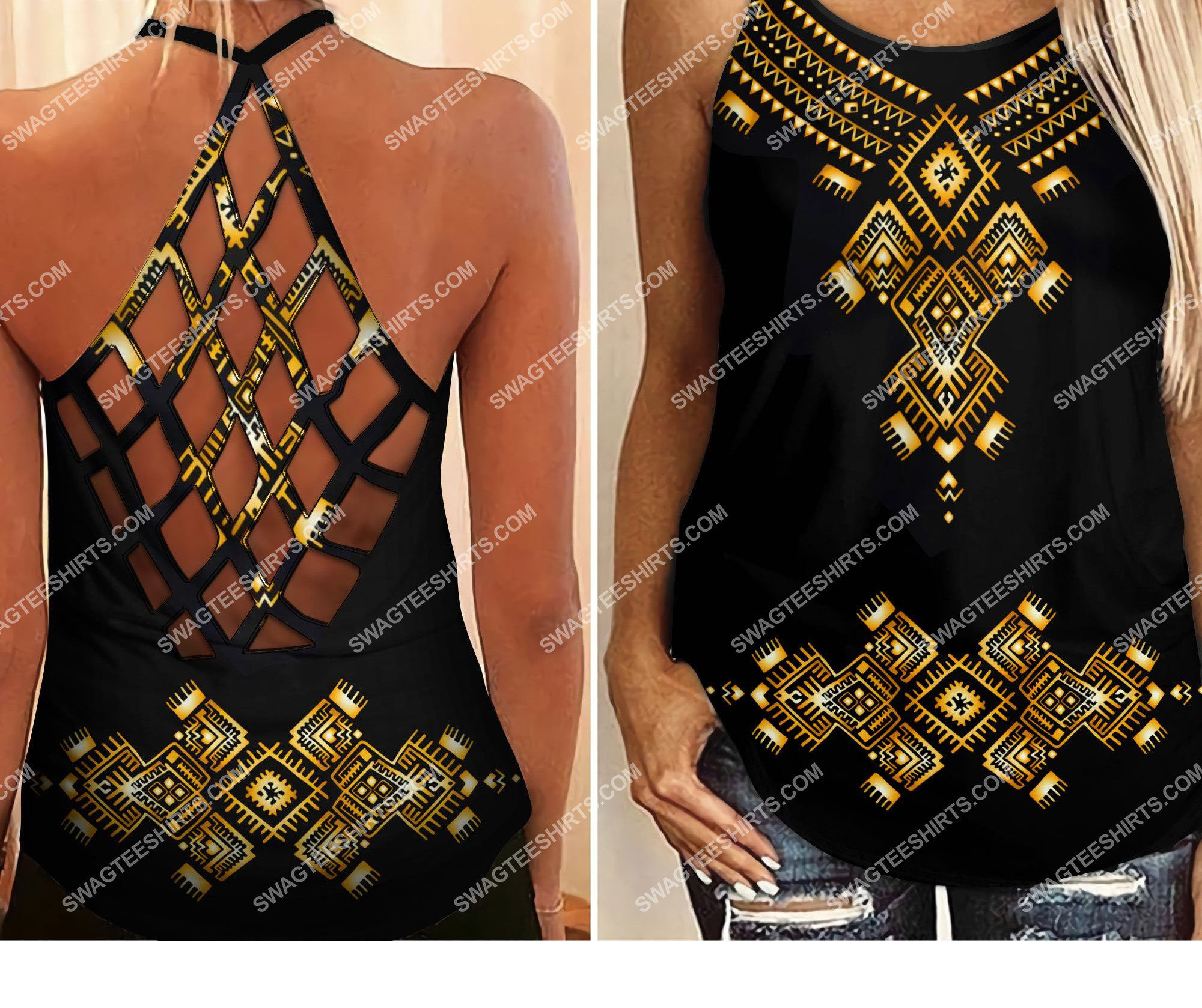 african symbol all over printed strappy back tank top 3