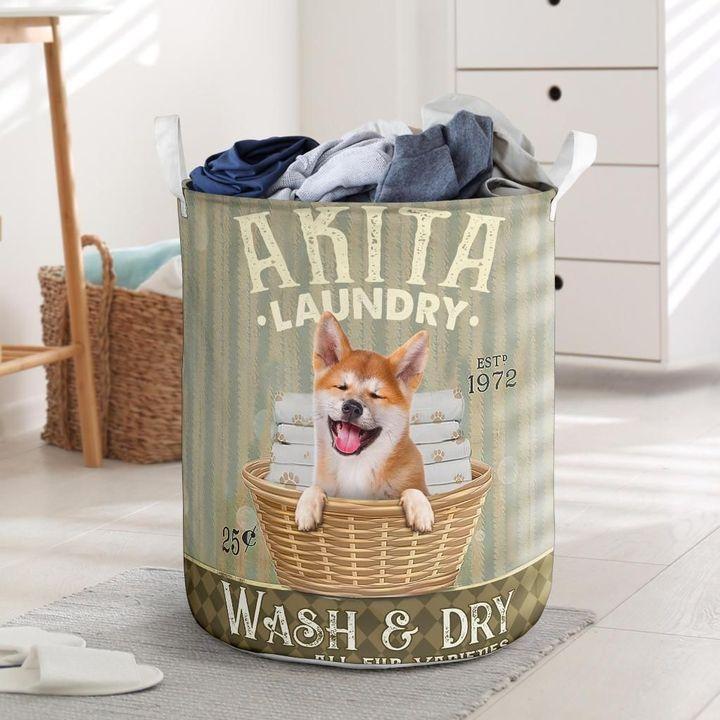 akita dog all over printed laundry basket 2