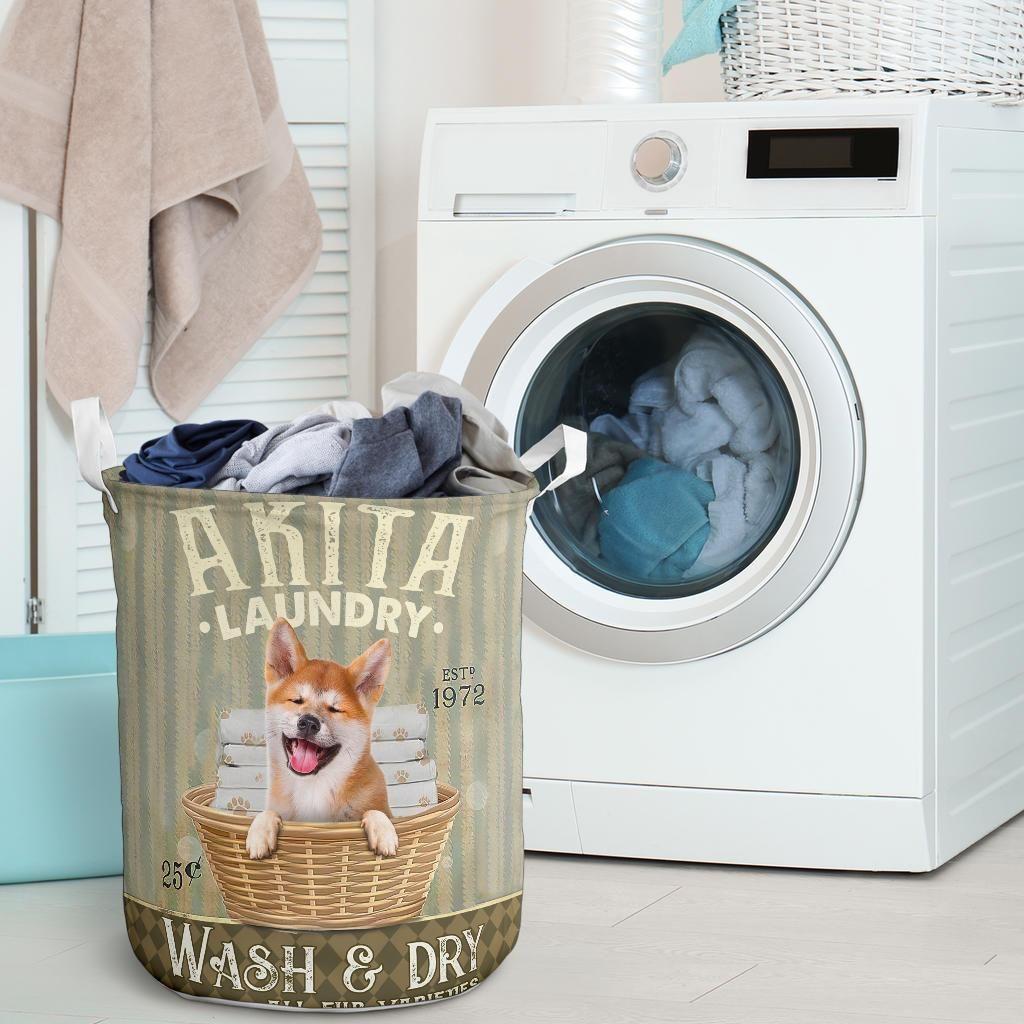 akita dog all over printed laundry basket 4