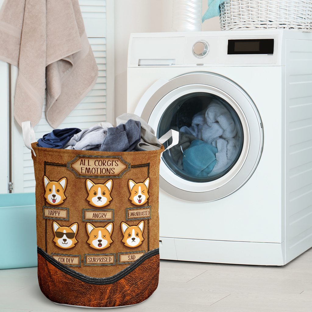 all corgis emotions all over printed laundry basket 2