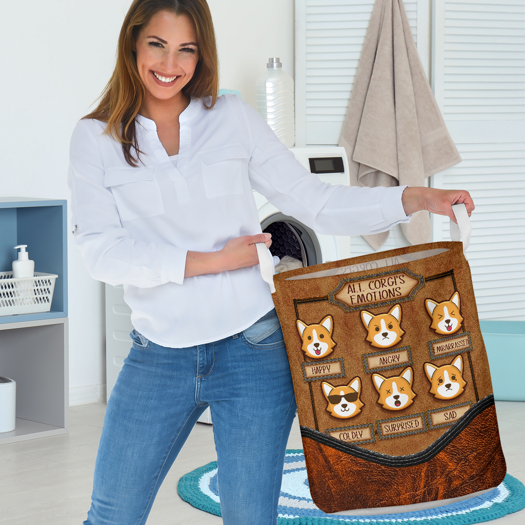 all corgis emotions all over printed laundry basket 3