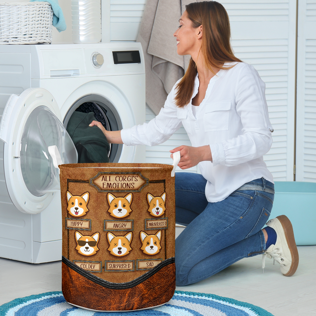 all corgis emotions all over printed laundry basket 4