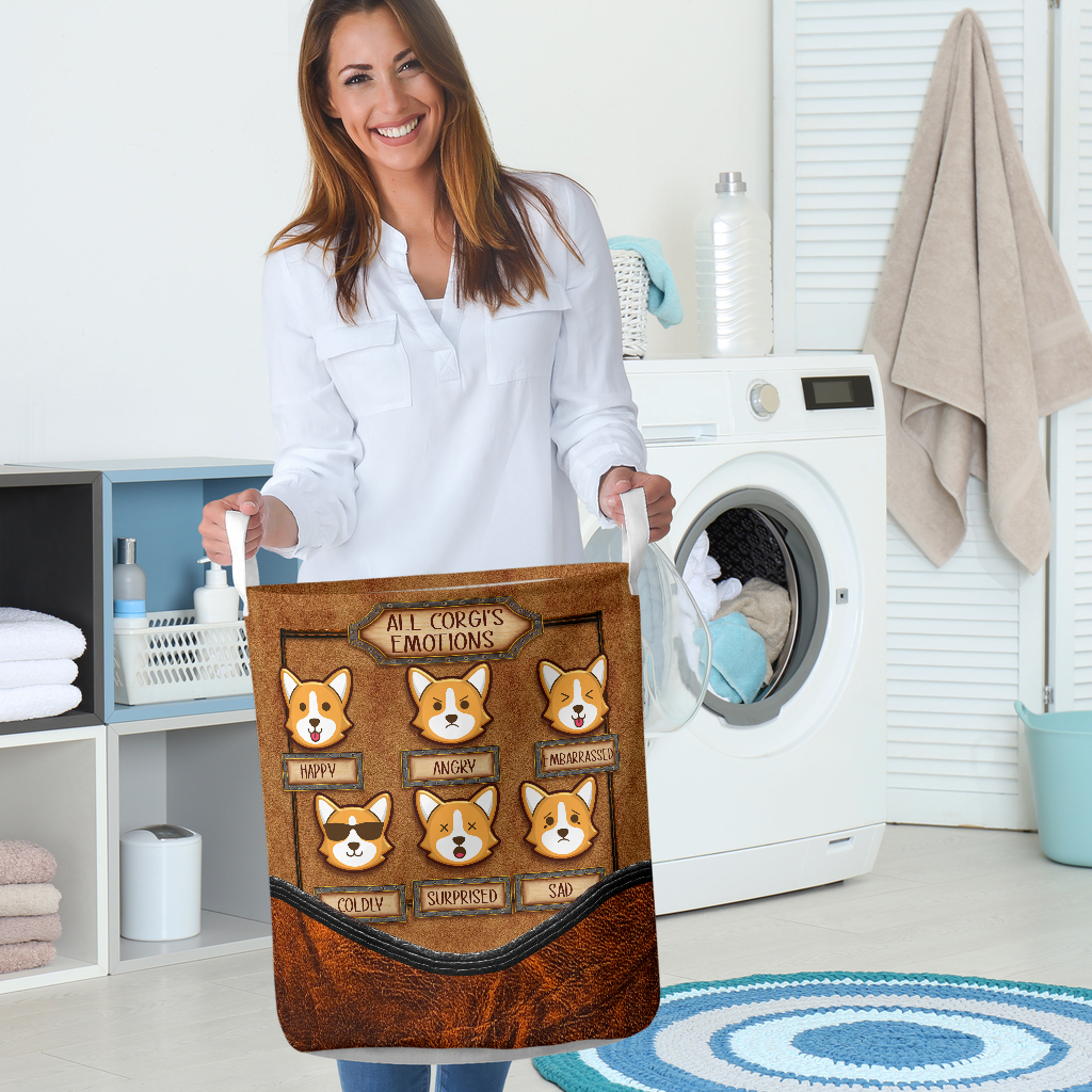all corgis emotions all over printed laundry basket 5