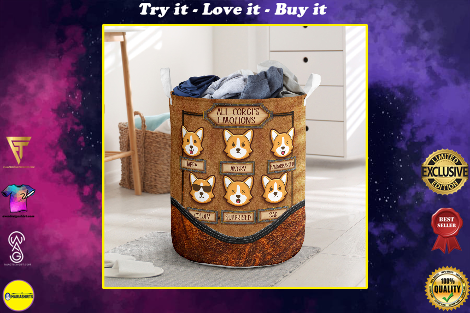 all corgis emotions all over printed laundry basket