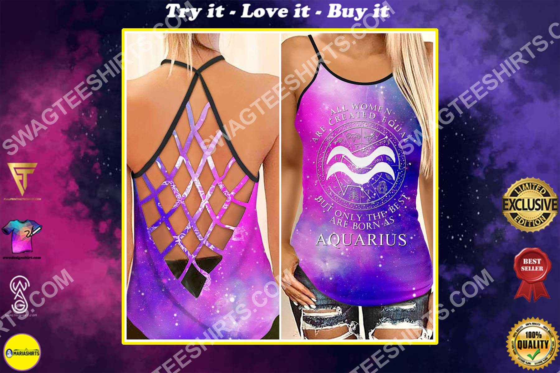 all women are created equal but only the best are born as aquarius strappy back tank top