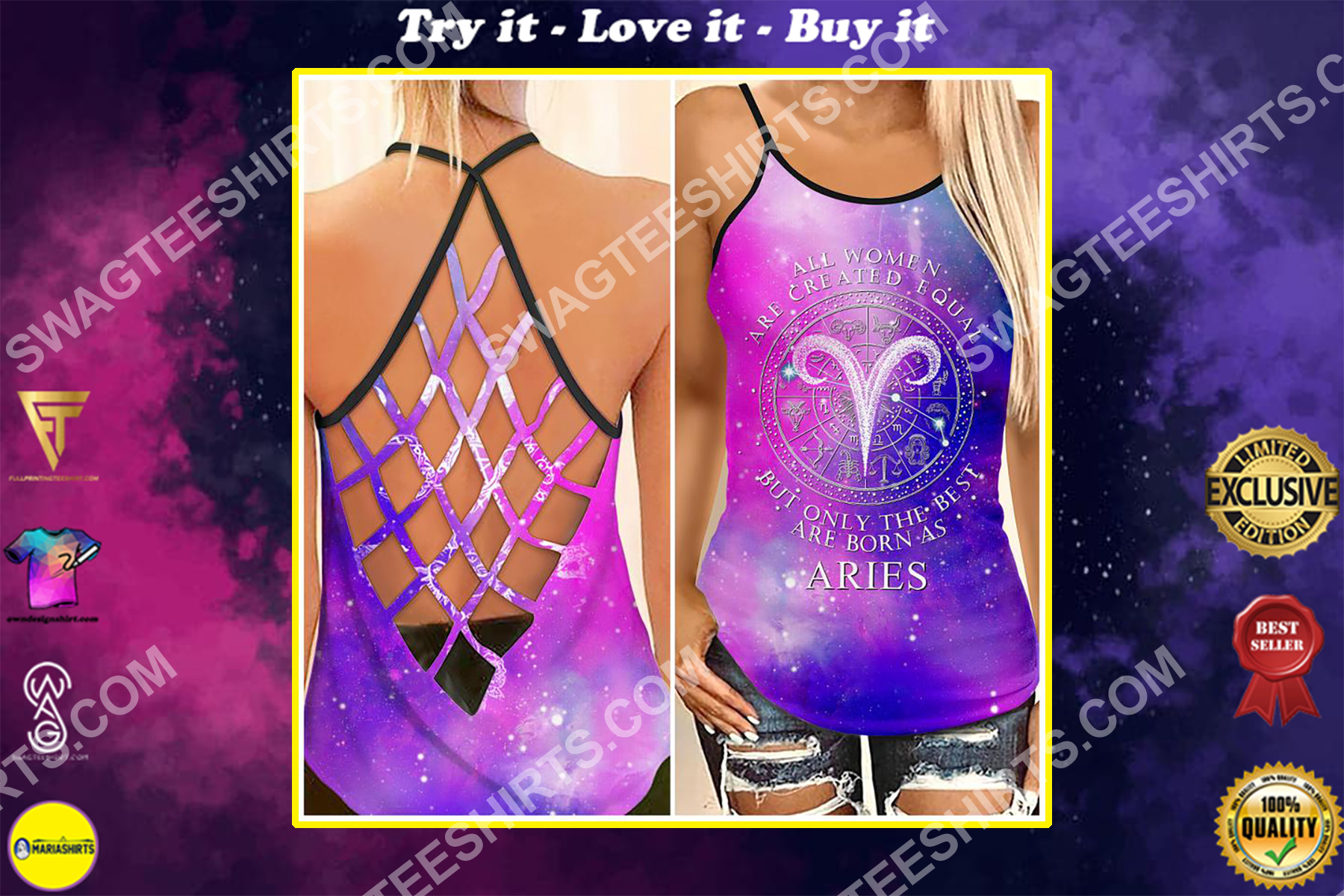 all women are created equal but only the best are born as aries strappy back tank top