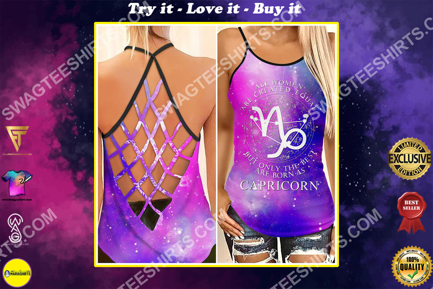 all women are created equal but only the best are born as capricorn strappy back tank top