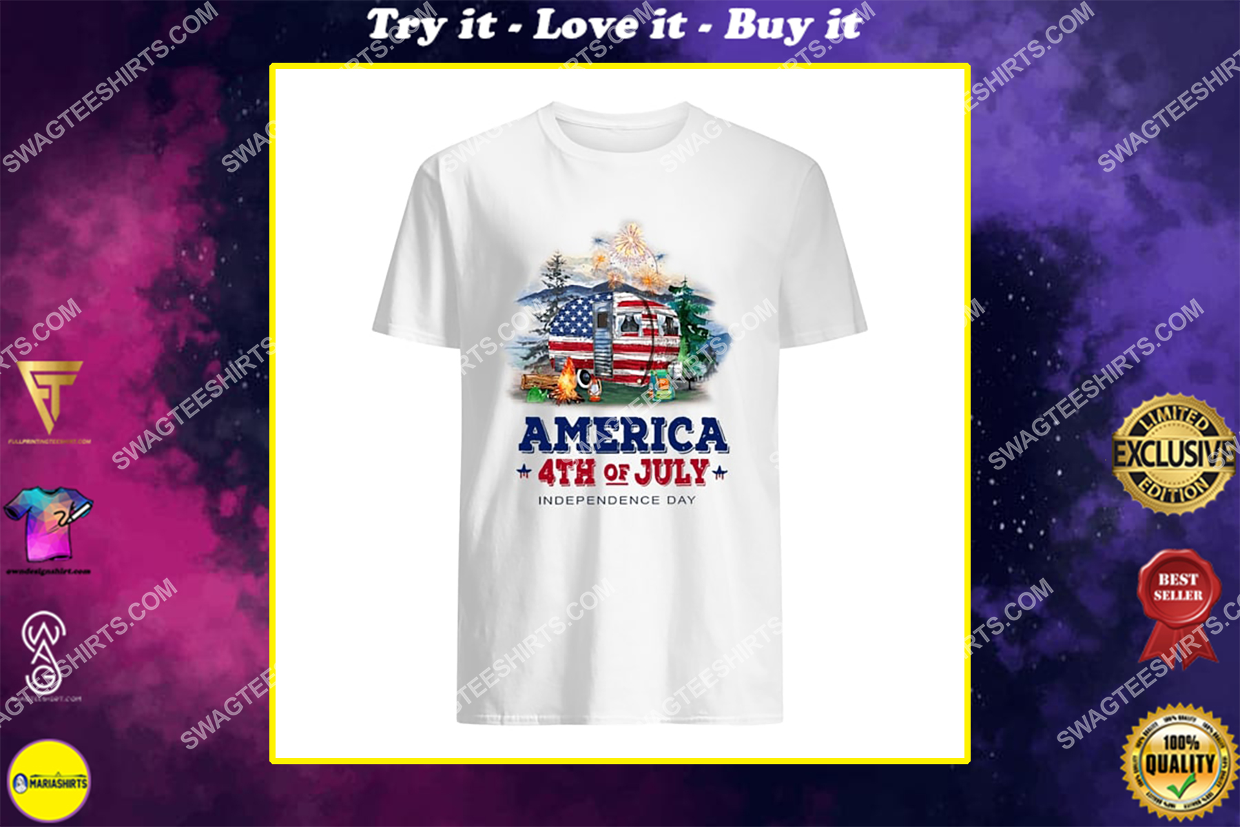america 4th of july independence day for camping shirt