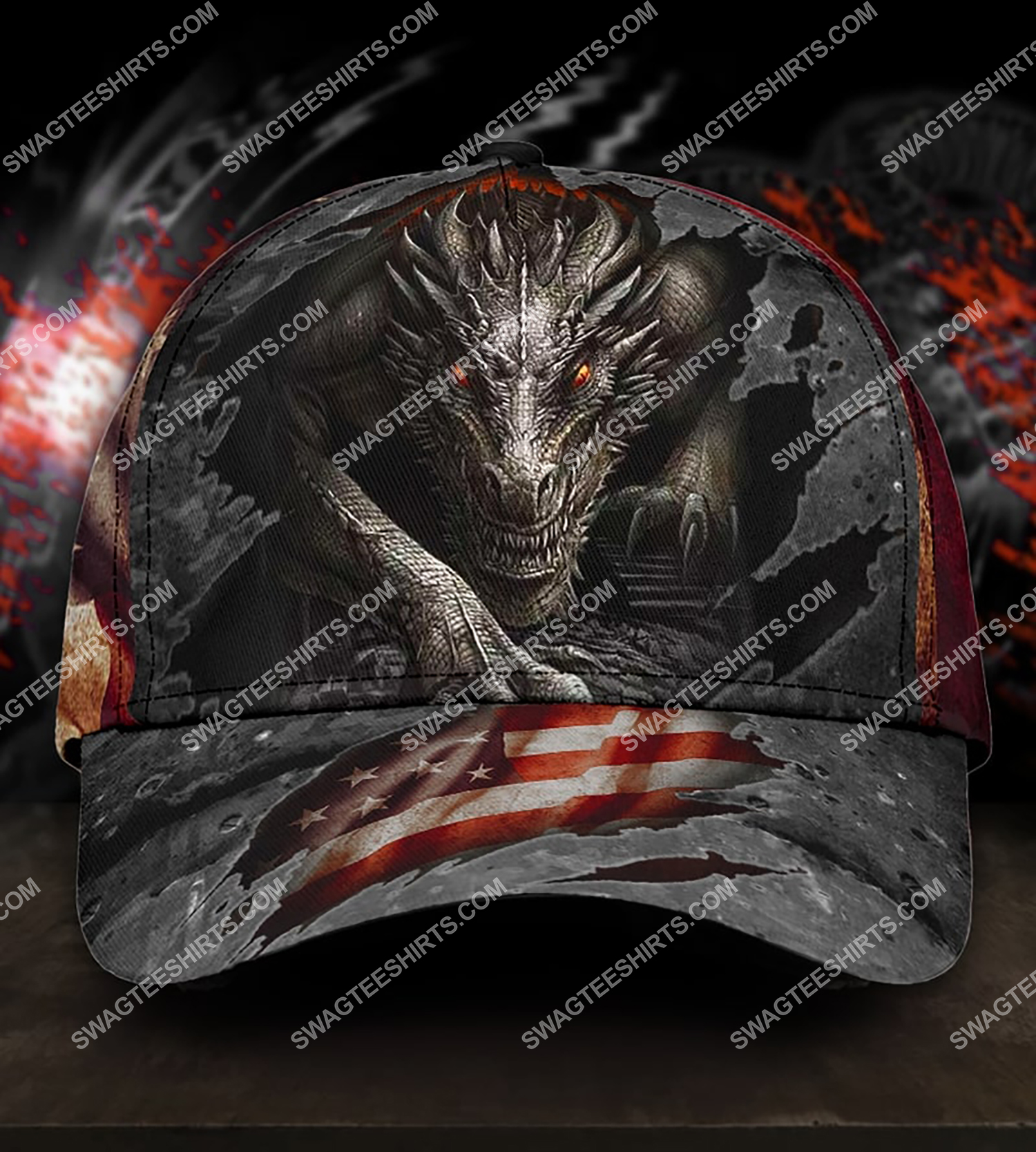 america flag and dragon all over printed classic cap 3