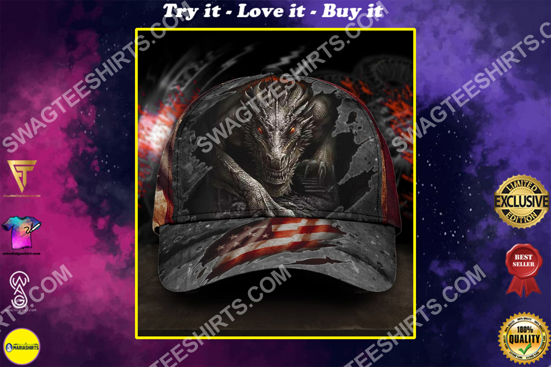 america flag and dragon all over printed classic cap