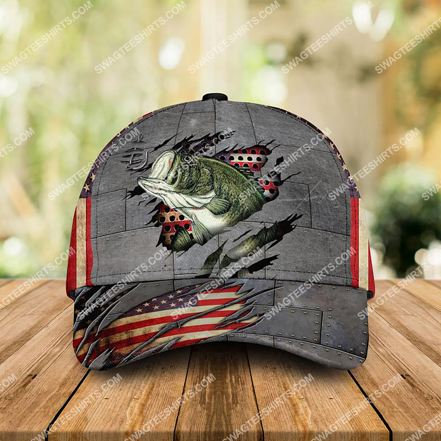 america flag and fishing camo all over printed classic cap 3