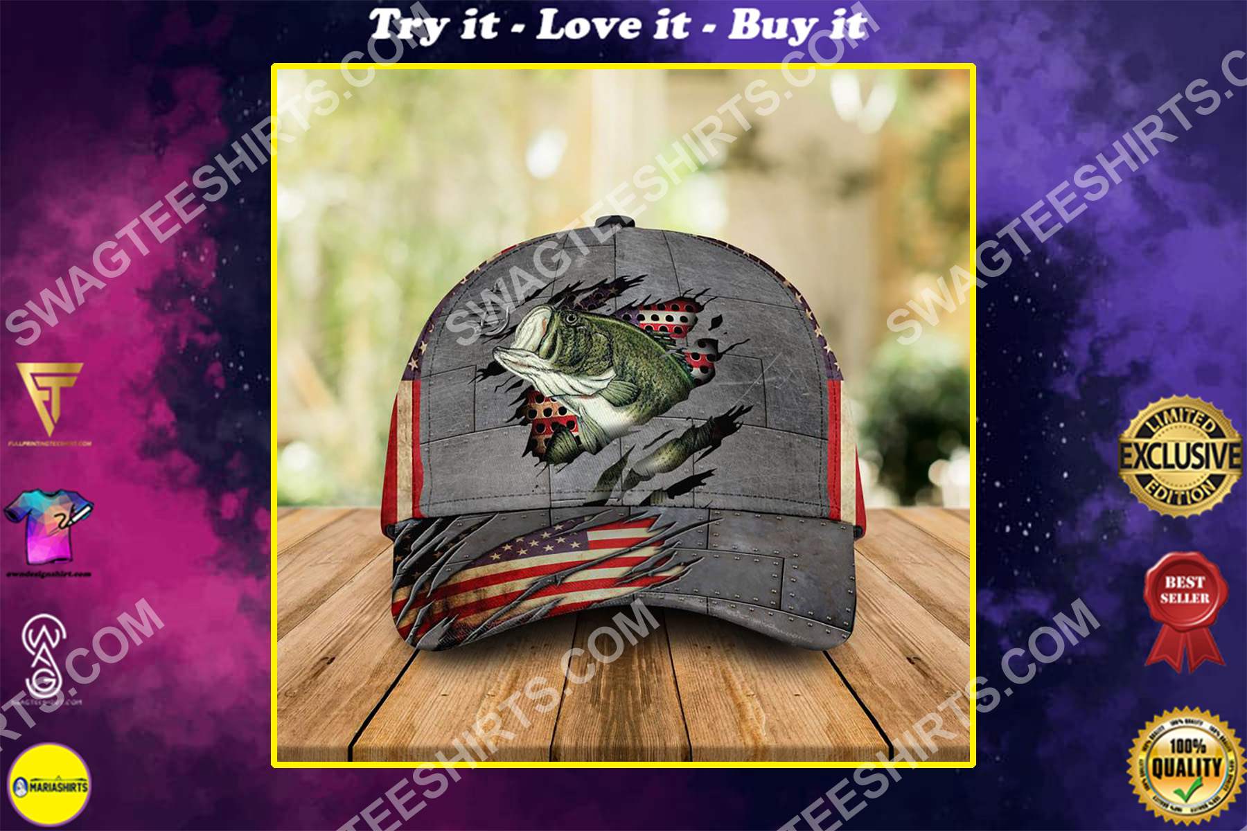 america flag and fishing camo all over printed classic cap