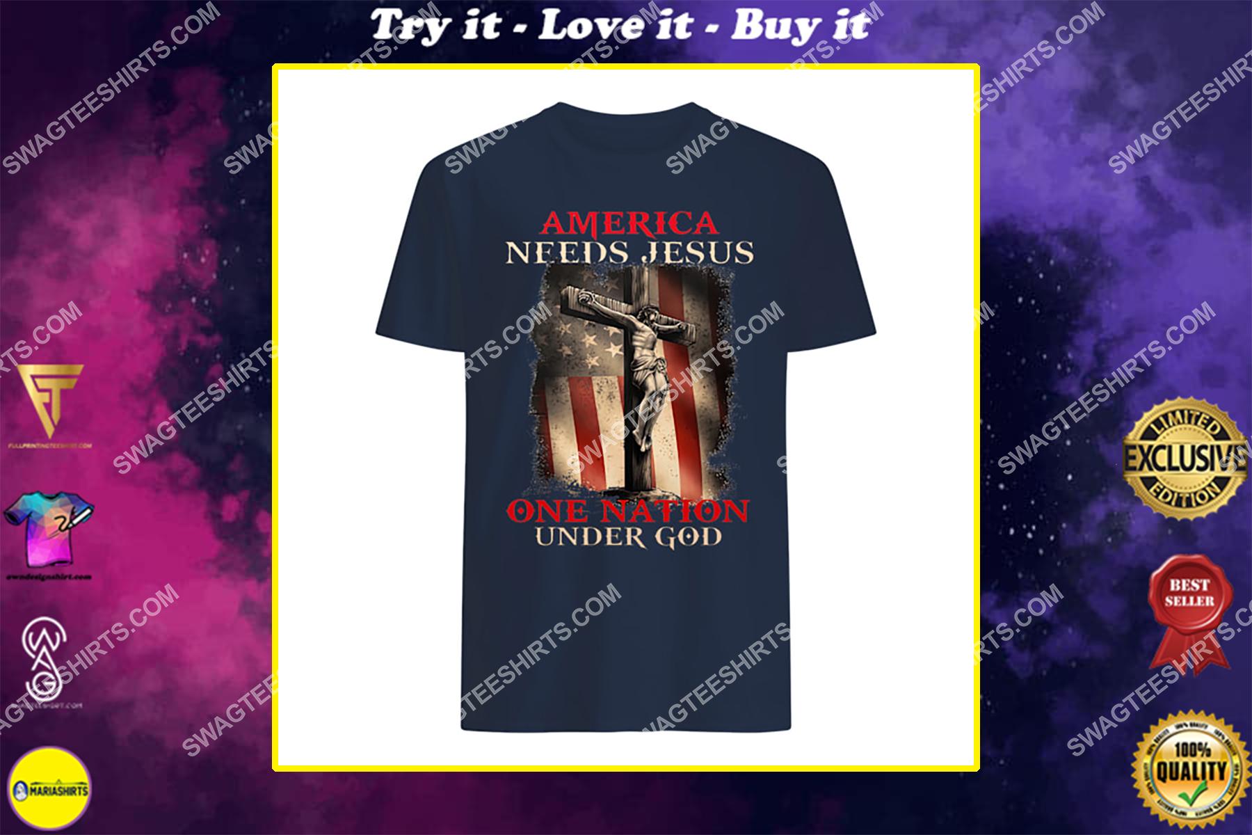 america needs Jesus one nation under God for memorial day shirt