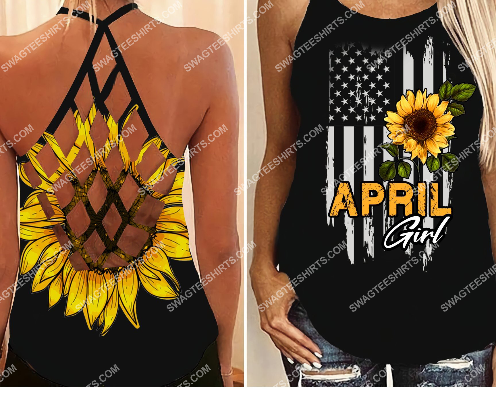 american flag april girl all over printed strappy back tank top 2