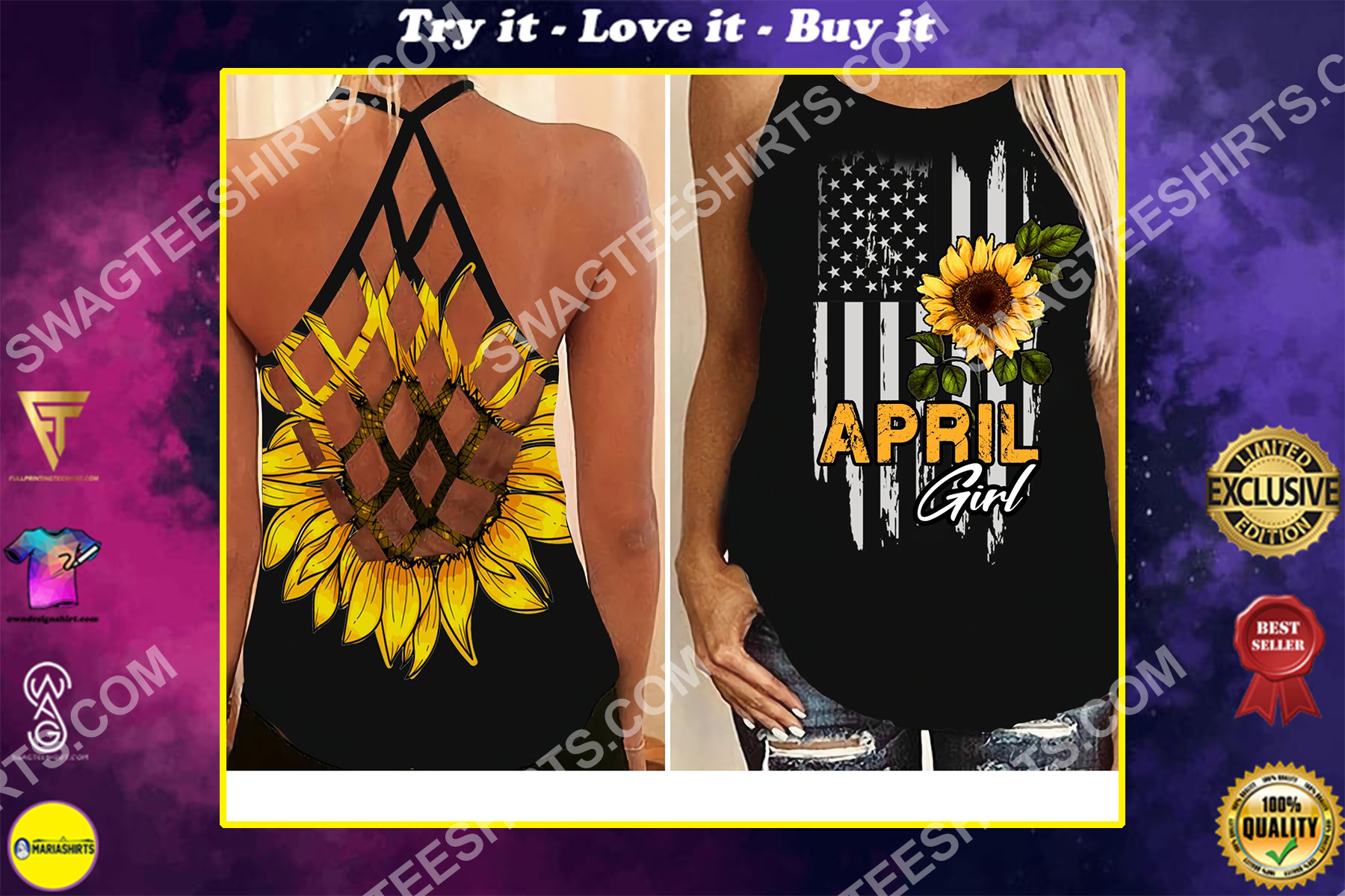 american flag april girl all over printed strappy back tank top