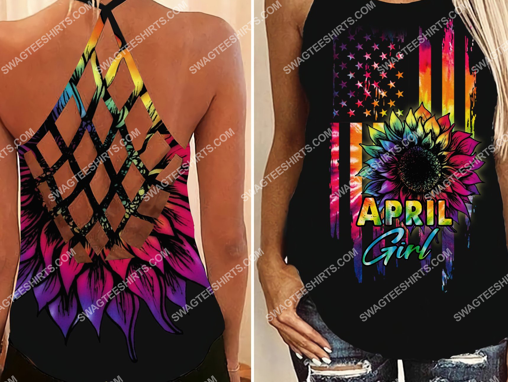 american flag april girl colorful all over printed strappy back tank top 2
