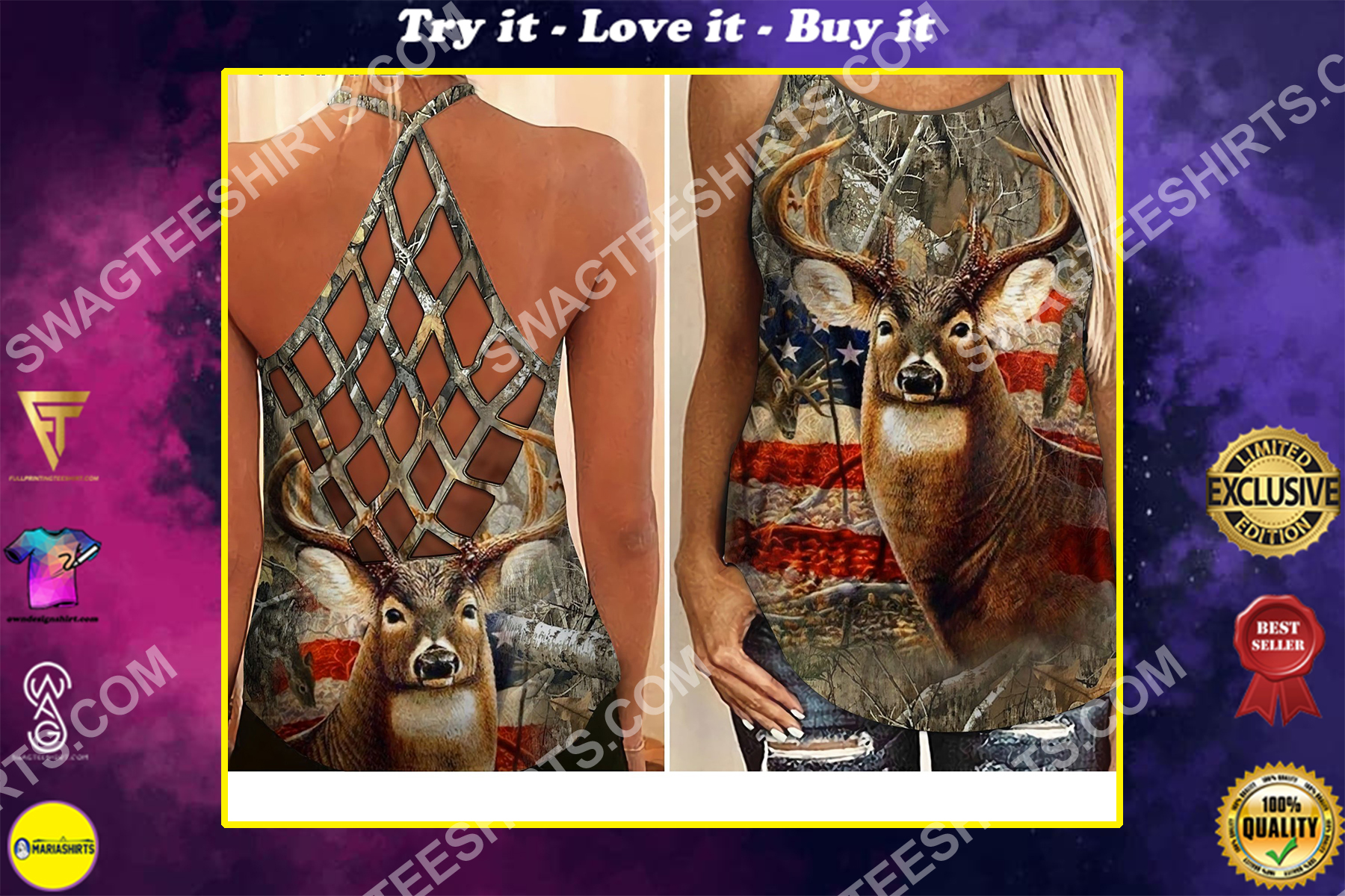 american flag deer hunting girl all over printed strappy back tank top