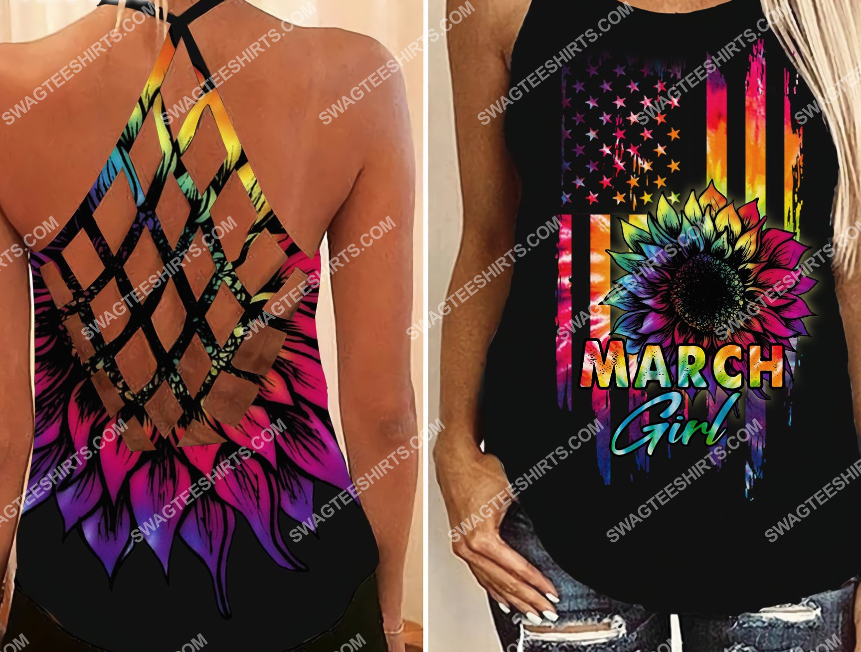 american flag march girl all over printed strappy back tank top 2