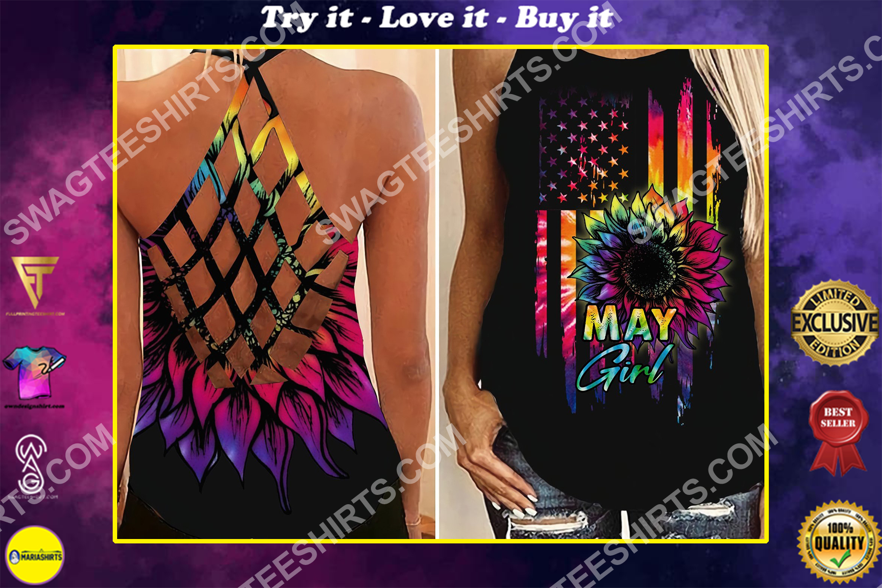 american flag may girl all over printed strappy back tank top