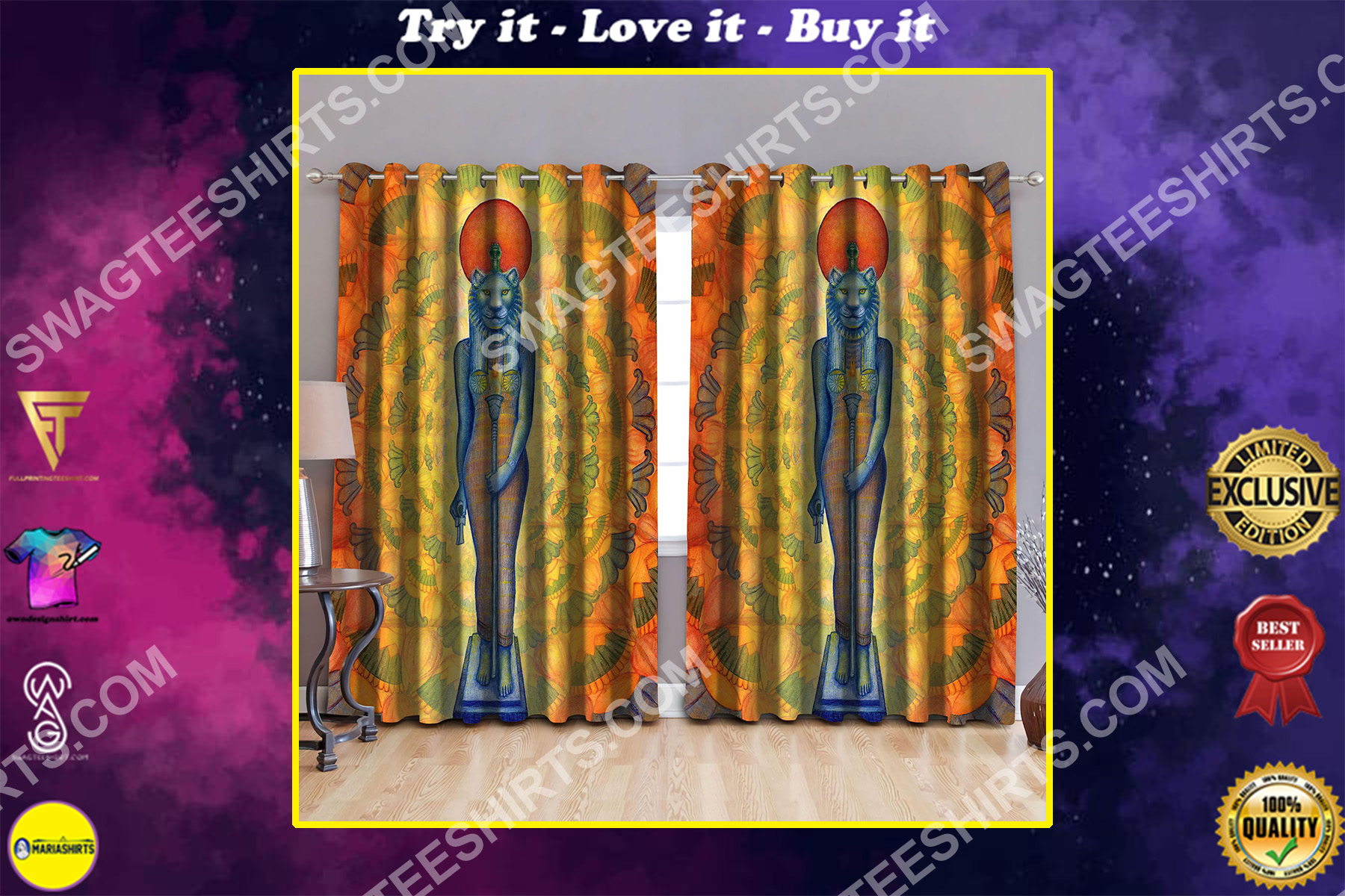 ancient egypt cat all over printed window curtains