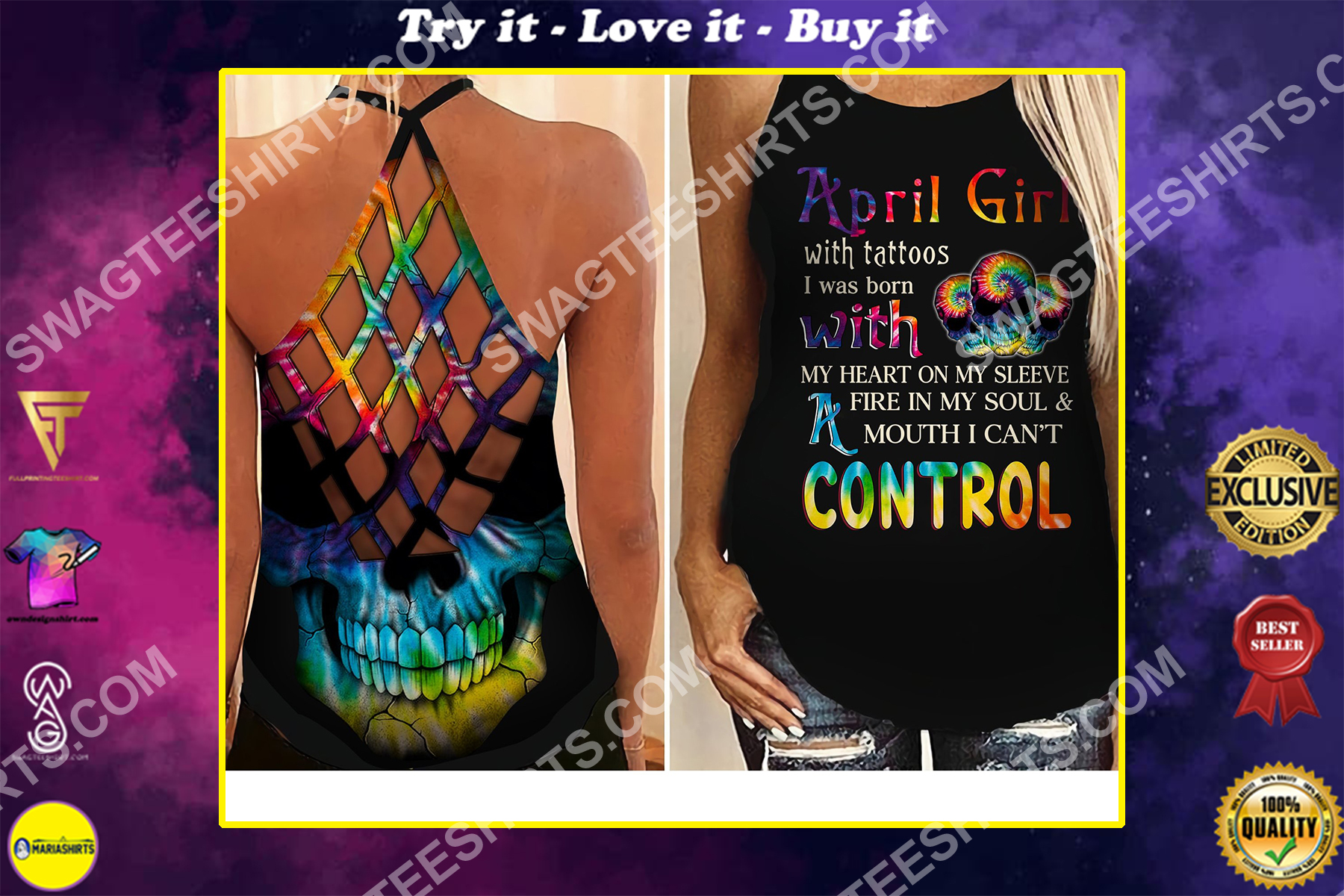 april girl with tattoos all over printed strappy back tank top