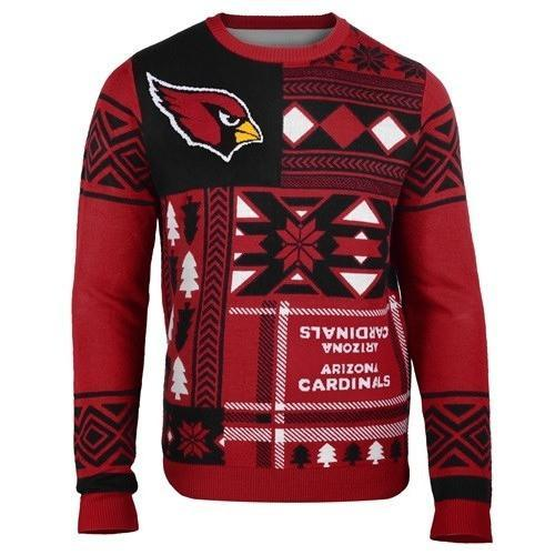 arizona cardinals patches ugly christmas sweater 1