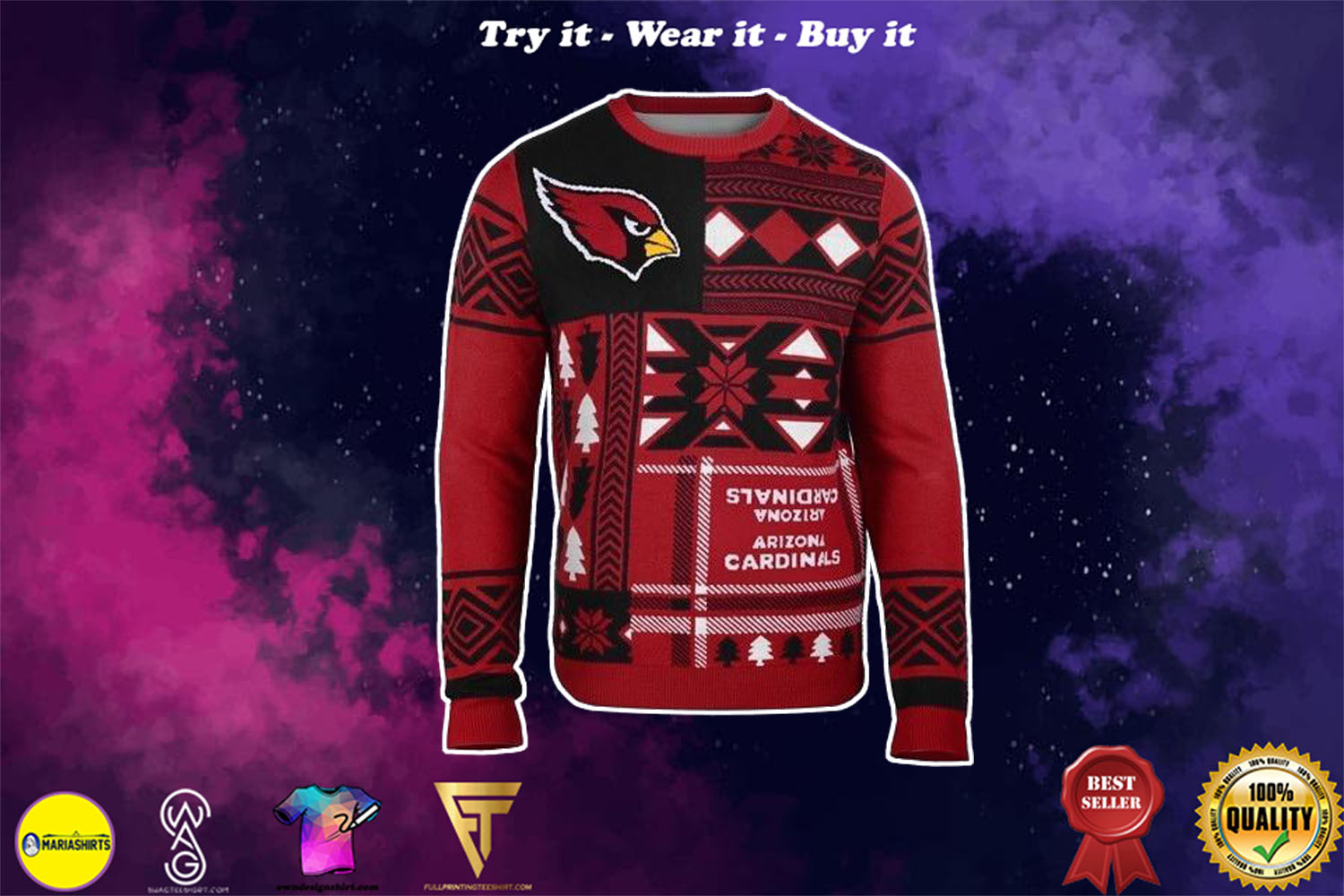 arizona cardinals patches ugly christmas sweater