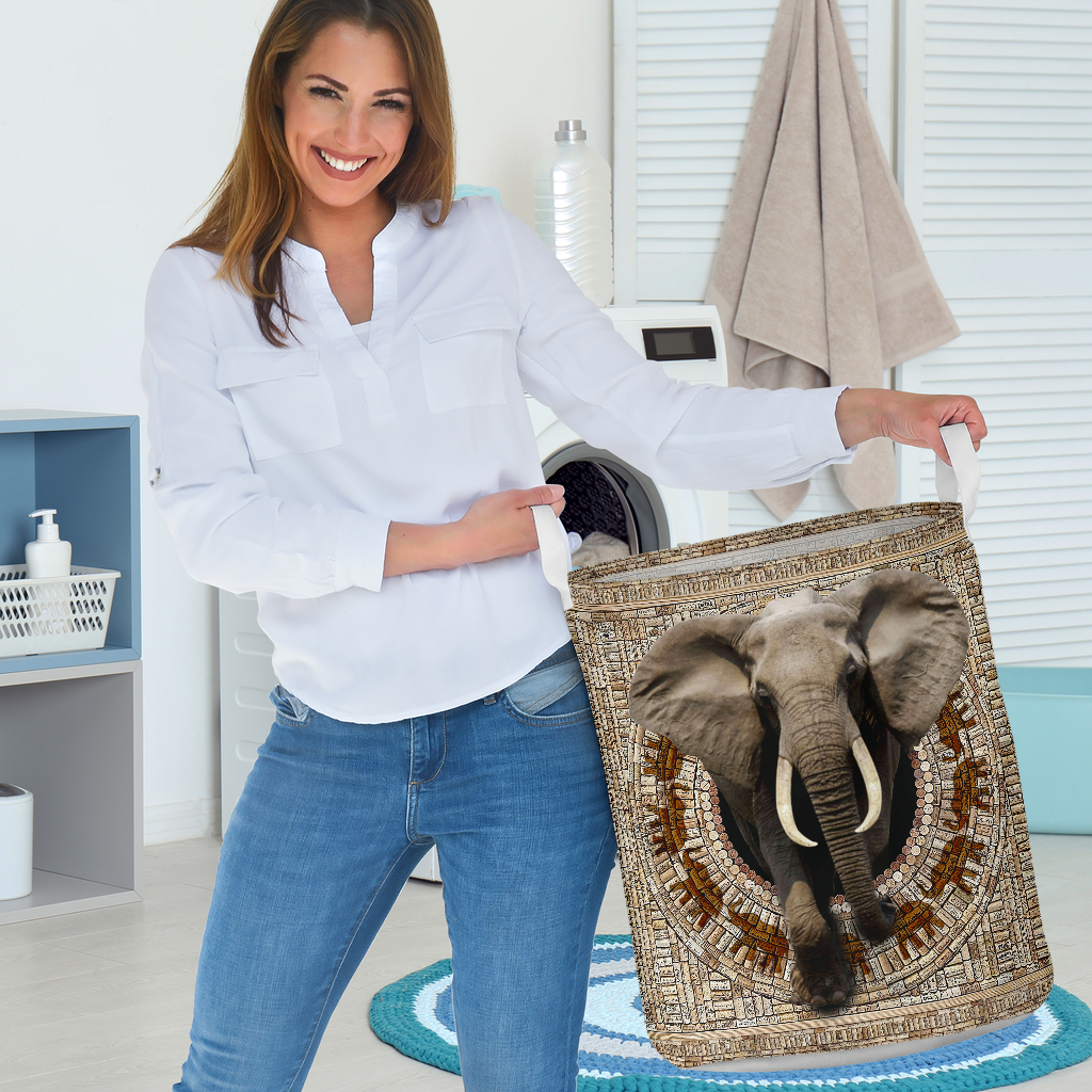 bamboo elephant all over printed laundry basket 3