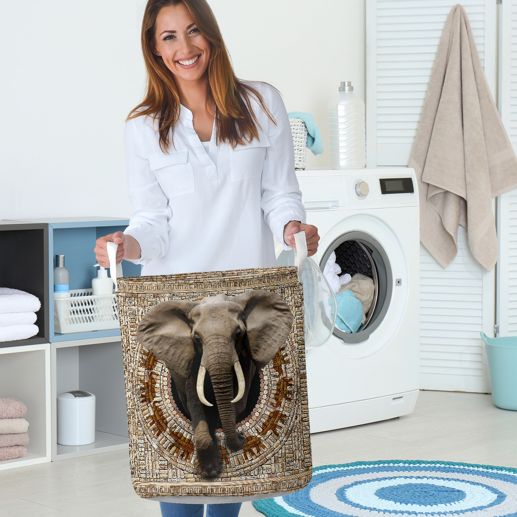 bamboo elephant all over printed laundry basket 5