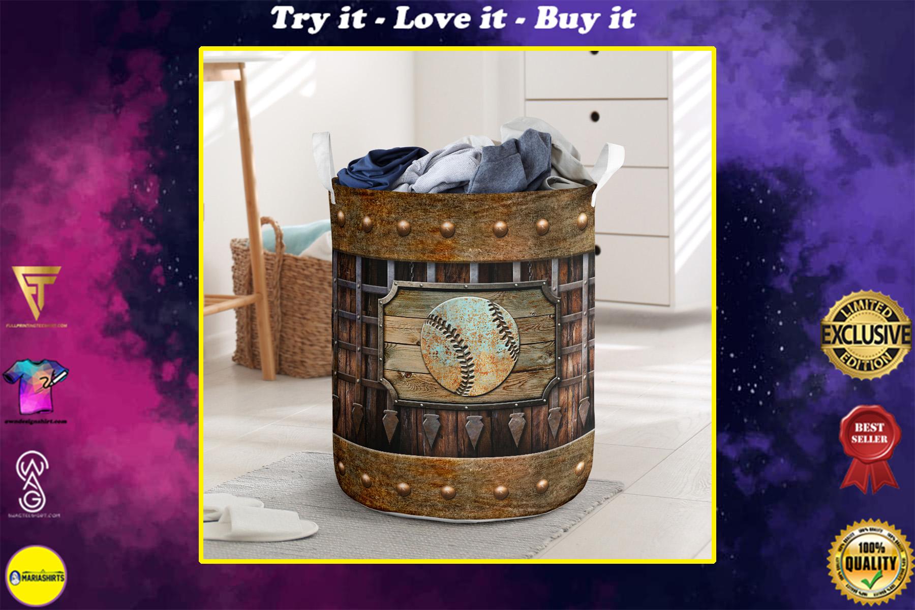 baseball sport grunge metal all over print laundry basket